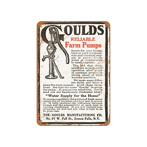 Gould'S Reliable Farm Pumps Vintage Aluminum Metal Signs Tin Plaques Wall Poster for Garage Man Cave Cafee Bar Pub Club Shop Outdoor Home Decoration 12