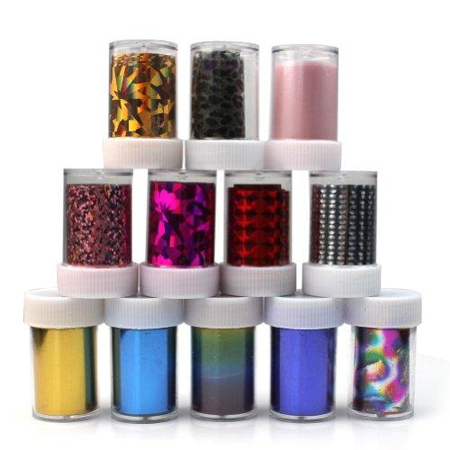 Pinzhi Lot de 12 rouleaux de papier transfert en aluminium coloré pour manucure nail art