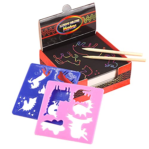 Kstyhome Juego de papel para rascar,papel de rascar Rainbow Magic,100 piezas para niños,negro,rascarlo,kits de manualidades,tableros de notas con 2 lápices de madera,2 plantillas de dibujo para niña,