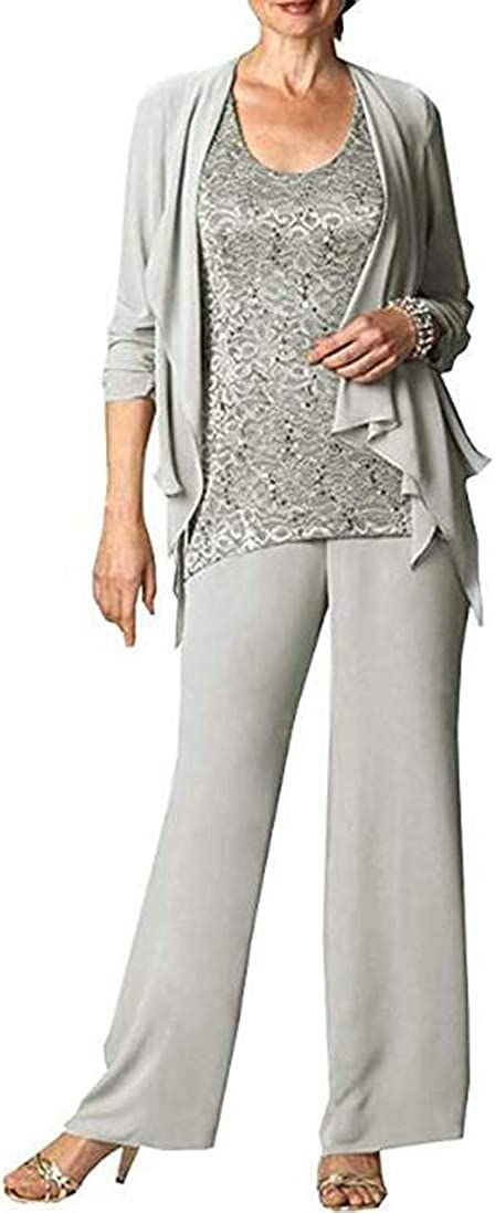 CY Women's 3 Piece Chiffon Pant Suit with Lace Top Mother of The Bride Set for Weddings