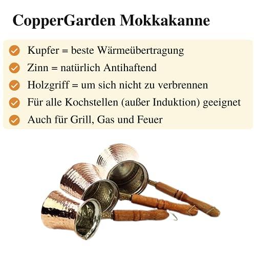 Copper Garden Mokkakanne aus Kupfer I Ibrik aus lebensmittelecht verzinntem Kupfer mit Holzgriff I Mittelgroße Kupferkanne zum Milchaufwärmen (für Kaffee) oder zum echten Mokka Kochen - 5