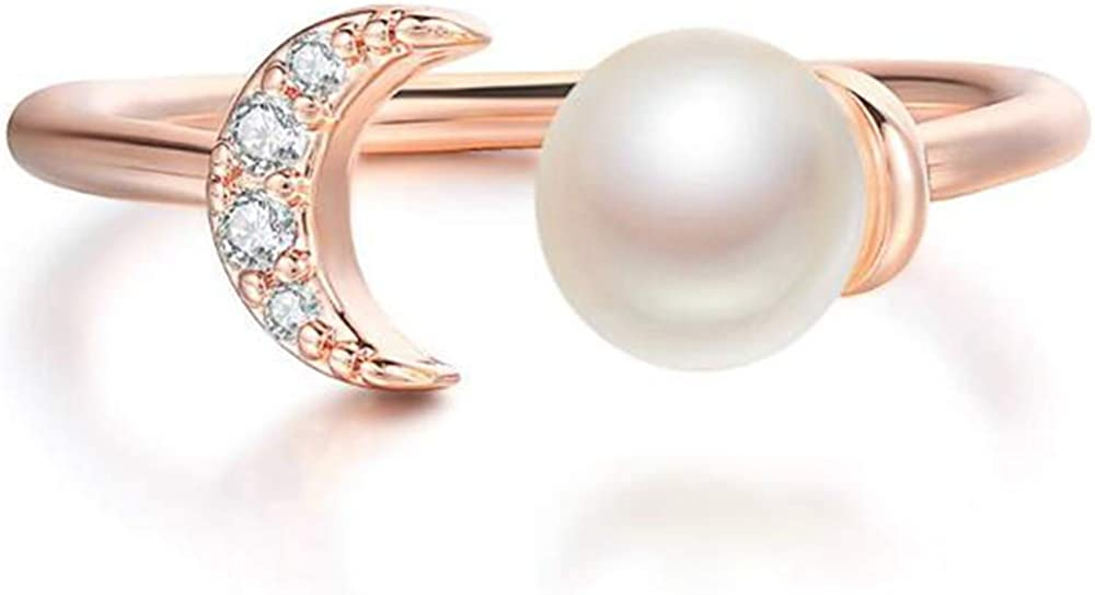 Platinum Plated Faux Pearl Sun Moon Shape Wedding Promise Statement Ring