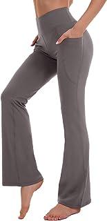 KMISUN Women Bootcut Yoga Dress Pants Pockets High Waisted Workout Bootleg Dress Flare Pants