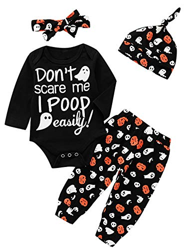 Baby Girls Halloween Outfit Set Funny Don't Scare Me I Poop Easily Bodysuit (Black, 12-18 Months)