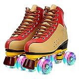 YIKUN Women Men Roller Skates Cowhide Skating Shoes Sliding Quad Sneakers Two-Color Roller Skates High-Top Double Row Roller Skates for Beginner Indoor Outdoor,Flash,38EU