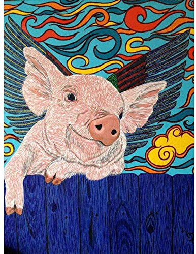 Stamped Cross Stitch Kits-DIY Easy Patterns Embroidery Crafts 11CT Cross-Stitch Supplies Needlework 16x20 inch-Pig Flying on The Fence