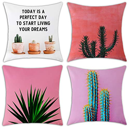 Redland Art Cactus Print Square Throw Pillow Covers Cotton Linen Sofa Decorative Cushion Pillow Cases for Home Decor 4-Pack, 18 X 18 Inch