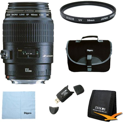 Canon EF 100mm f/2.8 Macro USM Lens for Canon SLR Cameras w/ 58mm Multicoated UV Protective Filter, Deluxe Bag, Microfiber...