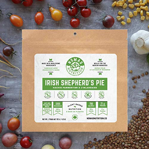 Nomad Nutrition Irish Shepherd's Pie – Plant Based, Protein Packed, Nutritious Dehydrated Meal for Camping, Travel, Adventure on the Go – 4oz