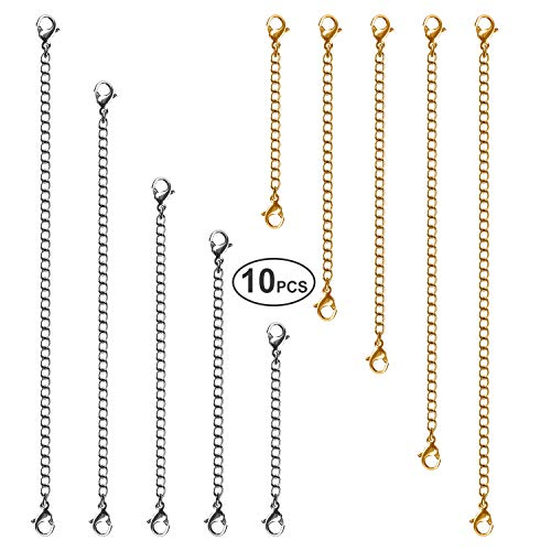 Necklace Extenders, 10Pcs Stainless Steel Gold Silver Necklace Bracelet Anklet Extension Chains with Lobster Clasps and Closures for Jewelry Making