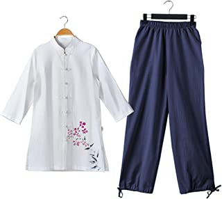 KSUA Womens Martial Arts Suit Cotton Tai Chi Uniform Chinese Kung Fu Clothing Wing Chun Clothes with Three Quarter Sleeves
