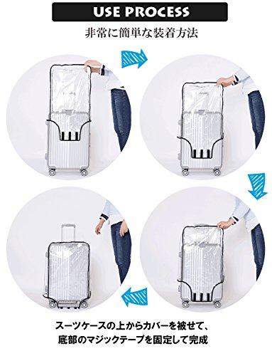 [ナチュシー]スーツケース【レインカバー】キャリーバッグ防水傷汚れ雨保護旅行出張クリア透明ラゲッジトランクビニールPVCトラベル(0528inch)