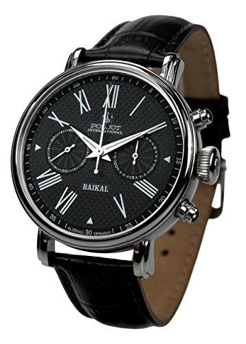 POLJOT International Chronograph Baikal Mechanische Armbanduhr für Herren Lederband Schwarz