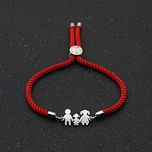RFGHATG RVS Charm Armband Familie Papa Moeder Dochter Lucky Rode Touw Verstelbare Armband Vrouwen Mannen Sieraden