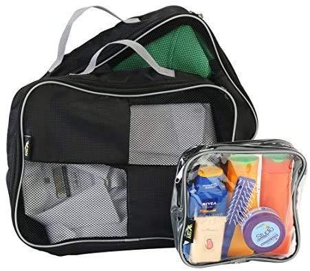 Cubes De Rangement Avec Poignée Pour Rangement Facile Et Trousse De Toilette Solution Approuvée Bagage À Main 20x20x10 (Noir)