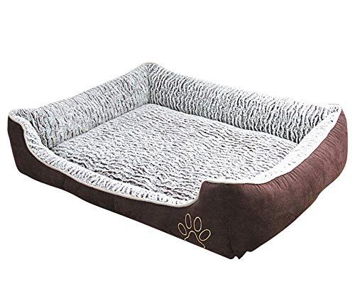 GUOCU Hundekorb Waschbar Hundebett Kissen Einfach Stil Weich Warm Bleiben Waschbar Abnehmbar Haustierbetten Braun XL