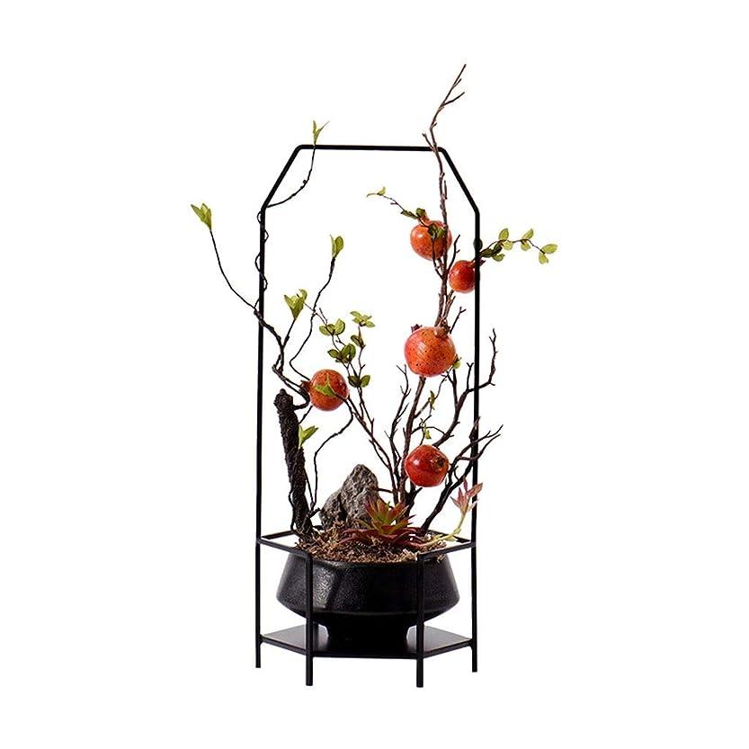達成可能デッドいとこ造花 中国の禅のようなヴィラと家族ホームウェディングデコレーション、アイアンフレームフラワーフルーツセラミック盆栽セット、人工植物造花に適した造花アート、