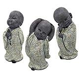 RM E-Commerce Buddha Figuren Garten, kleine Mönche 3er Set, Deko Statuen 17 cm, Feng Shui Dekofiguren, Gartendeko Skulpturen