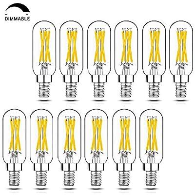 Dimmable T6 LED Bulbs, 40W Candelabra Light Bulbs 2700K Warm White, 4W E12 Edison Bulb, Clear Chandelier Light Bulbs for Living Room Bedroom Kitchen, 12 Pack