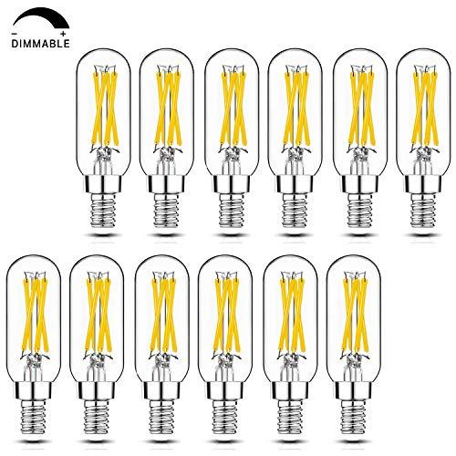 Dimmable T6 LED Bulbs, 40W E12 Edison Light Bulbs 2700K Warm White, 4W Equal 40W Candelabra Incandescent Bulbs, Clear Vintage Tubular Light Bulbs for Livingroom Bedroom Kitchen Chandelier, 12 Pack
