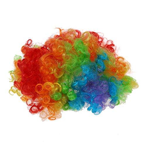 SODIAL(R) Nez de Clown Rouge en Mousse + Multi-couleur Perruque de Clown pour Masquerade D¨¦guisement Cosplay