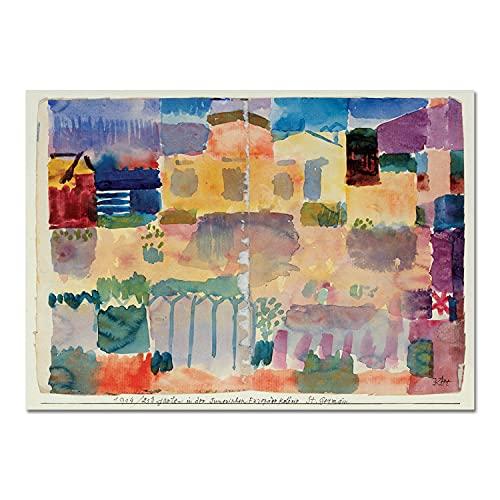 Giallobus - Quadro - Paul Klee - Giardini in Saint Germain - Vetro Acrilico Plexi - 100x70 - Pronto da Appendere - Quadri Moderni per la casa