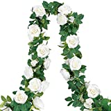COCOBOO 4pcs 26 Feet Artificial Rose Vine Fake Silk White Flower Garland Hanging Vine Garland for Wedding Home Outdoor Arch Garden Wall Decor