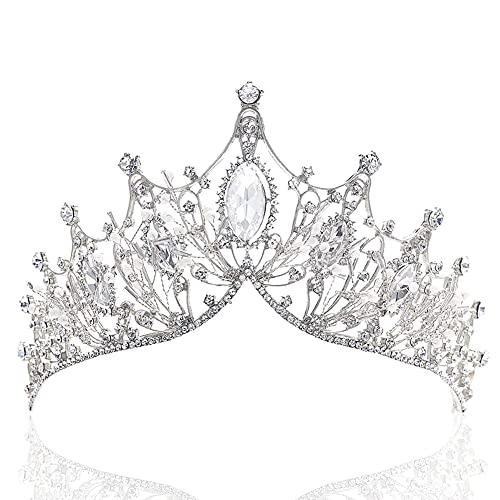 Coronas Tiaras,Corona de la Reina de Cristal, Tiara de Lujo de Plata,...