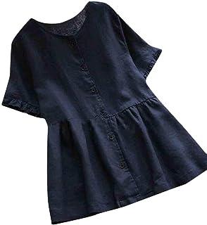 MK988 Women's Plus Size Short Sleeve Button Down Cotton Linen Loose Patchwork Blouse T-Shirt Top