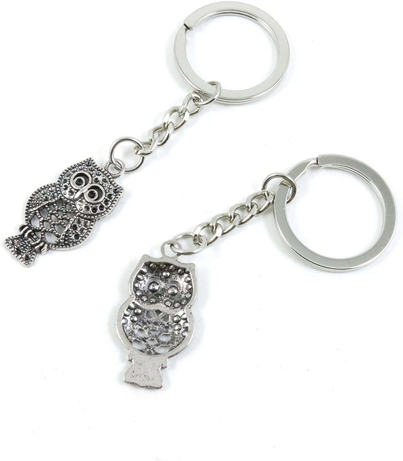 100 Pieces Keychain Keyring Door Car Key Chain Ring Tag Charms Bulk Supply Jewelry Making Clasp Findings Y4IY7Q Owl
