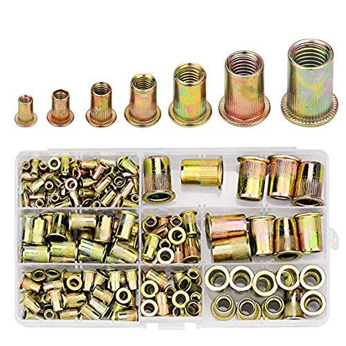 Tuercas de remache 150 piezas M3//M4//M5//M6//M8//M10//M12 Cabeza plana de acero al carbono Roscado Ciego Remache de tuerca de remache Rivnut