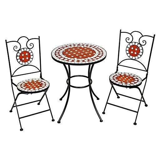 TecTake Salon de Jardin en Mosaïque, 2 Chaises et 1 Table Ronde, Ensemble Bistrot en Céramique, Pliante, Support Acier, Terre Cuite