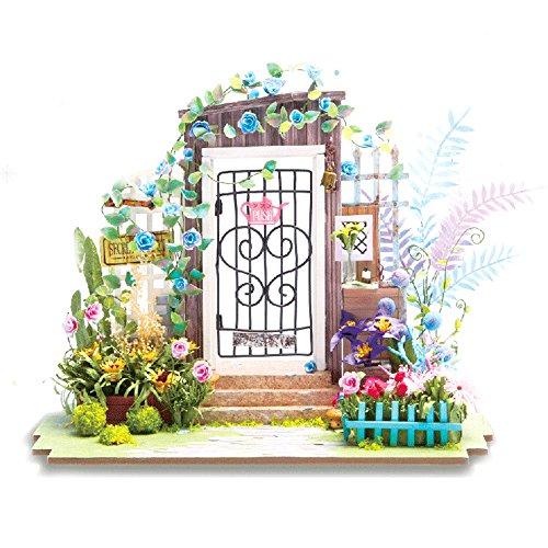 (moin moin) ドールハウス ミニチュア 手作りキット セット ペーパークラフト スローライフシリーズ ( お花に囲まれた秘密の扉 )