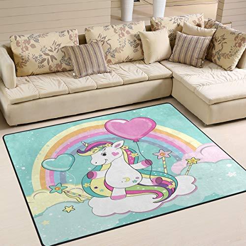 Use7 - Alfombra de Unicornio con Globo y Nube, diseño Vintage de arcoíris, Tela, 160cm x 122cm(5.3 x 4 Feet)