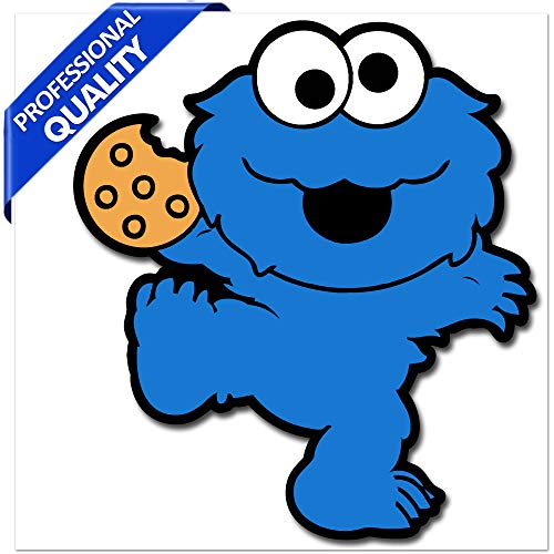 Biomar Labs® 1 x vinyl sticker grappig autosticker sesamstraat kruimelmonster Elmo Cookie Monster Sesame Street Auto Motorfiets Raam Fiets Tuning B 253