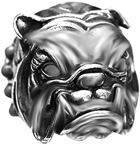 English Bulldog W/Spiked Collar 925 Sterling Silver Charm Bead for Pandora & Similar Charm Bracelets or Necklaces