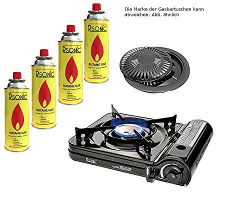 Campingkocher Gaskocher Tragbarer Turbo Gaskocher 2,9 kW RS-3500 Gasgrill Gasbrenner (Kocher mit Grill + 4 Kartuschen)