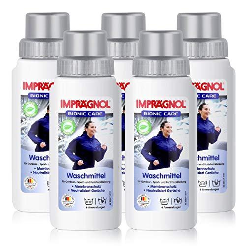 Imprägnol Bionic Care Waschmittel 250ml - Sauberkeit & Wäscheschutz für jede Wetterlage - idealer Kleidungsschutz für Outdoor,- Sport- und Funktionskleidung, PFC-frei (5er Pack)