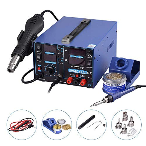 Digital Estacion de soldadura 3 en 1 SMD Kit del Soldador Eléctrico con pistola de aire USB 853D 2A
