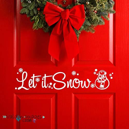 Laat het Sneeuw Deur Decal Kerstmis Decor Voordeur Sticker Vakantie Decor Sneeuwman Muursticker Voorportiek Wanddecoratie