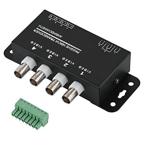 Goshyda Balun transceptor de Video pasivo BNC a RJ45 CAT5 / 6 UTP antiinterferencias con Distancia ultralarga para cámara CCTV AHD/HDCVI/HDTVI(4 Puertos)