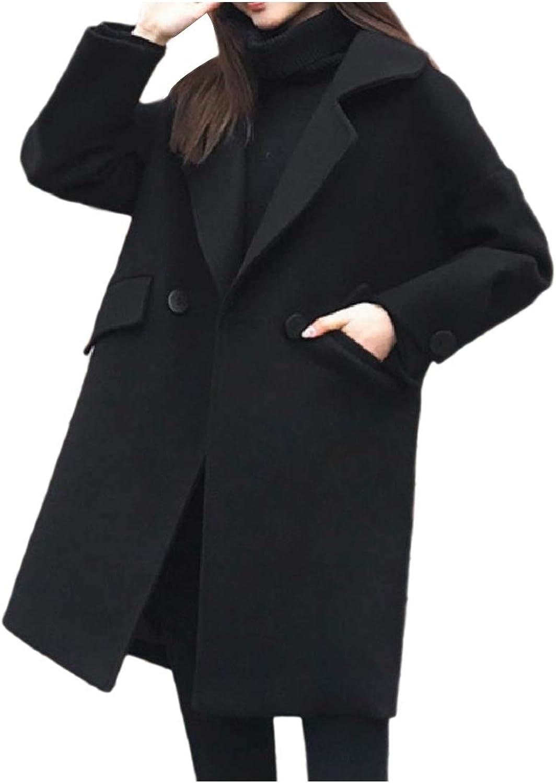 Doanpa Womens Elegant TurnDown Collar Jacket Outwear Oversized Overcoat