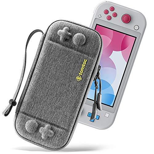 tomtoc Original Breveté Etui de Protection Mince pour Nintendo Switch Lite, Housse de Transport Rigide avec 8 Cartouches de Jeu et Protection de Niveau Militaire, Gris