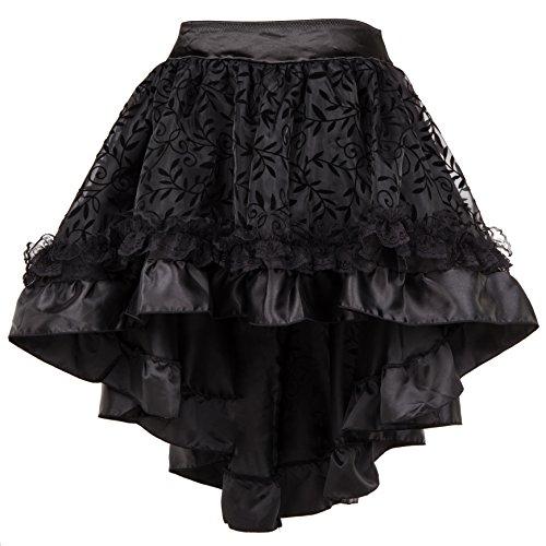 Bslingerie® Damen Gothic Punk Steampunk Spitze Rock Kleidung Kurzer Rock (Schwarz, S)