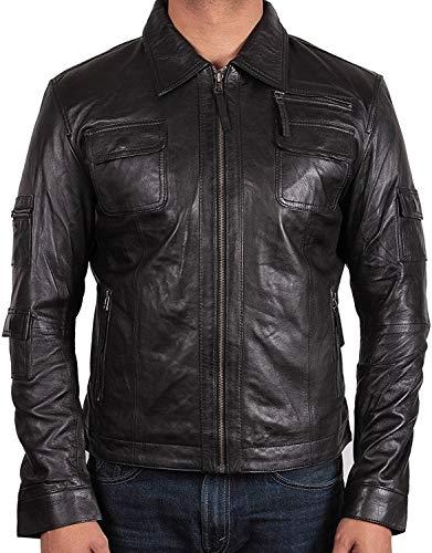 BRANDSLOCK Mens Genuine Biker Leather Jacket Bomber Coat Designer Black