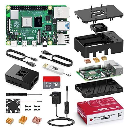 Raspberry Pi 4 Model B 4GB mit 32GB Micro SD-Karte, Ultimatives Kit mit Quad-Core A72 unterstützt Dual Display 4K/ 1000Mbps/ BT 5.0/ Upgrade für Raspberry Pi 3
