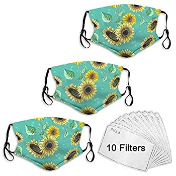 Face Scarf Masks Balaclava Bandana Washable Reusable Headband Pretty Sunflower Face Scarf Shield with 10 Filters 3 Packs Masks