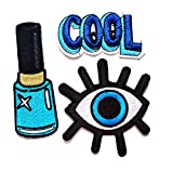Nipitshop Patches Set 3 Pcs Application COOL Patch Beautiful Blue nail Polish Eye eyeball tattoo wicca occult goth punk retro applique iron-on patch for Clothes or Gift Sets
