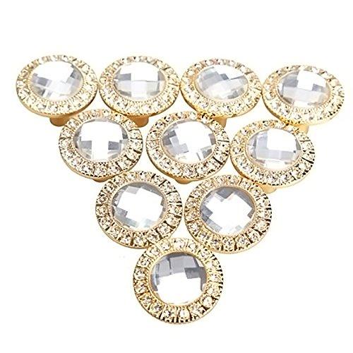 10 Pcs Runde 30mm Pull Handle glitzernde Kristall Glas Strass Knob für Schrank Schrank Küche Tür Schublade Knöpfe Griff Gold