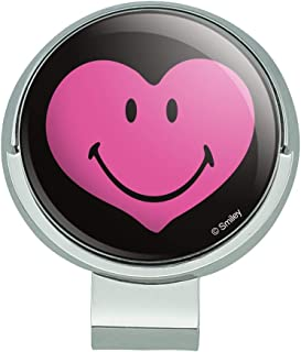 Smiley Smile Happy Pink Heart Love Romantic Face Golf Hat Clip with Magnetic Ball Marker